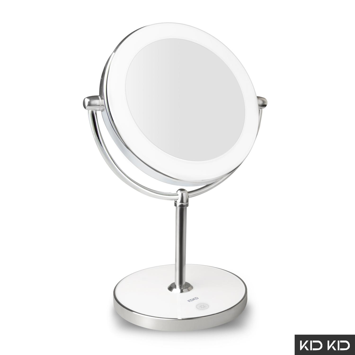 Kdkd Lighted Makeup Mirror 1x 7x Magnification Double Sided Round Touch Control Led Dimmable Swivel Vanity White